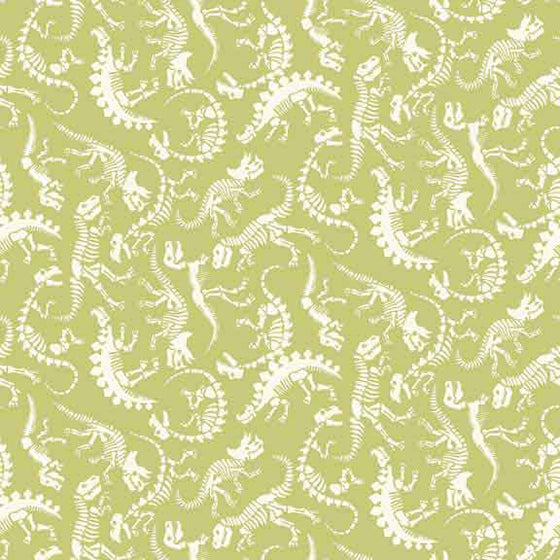 Makower UK Rex -  Green Dinosaur Fabric - 1897/G F6423