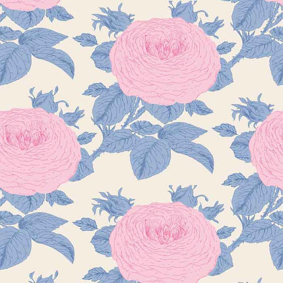 Tilda Patchwork Fabric Sunkiss Grandma's Rose Blue F6611 - The Fabric Bee
