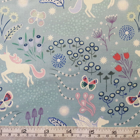 Lewis and Irene Fairy Nights Unicorn Meadow on Soft Teal A405.1 F6676 - The Fabric Bee