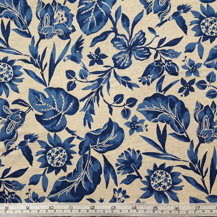 Blue Floral Cotton/Linen Blend Fabric F6685 - The Fabric Bee