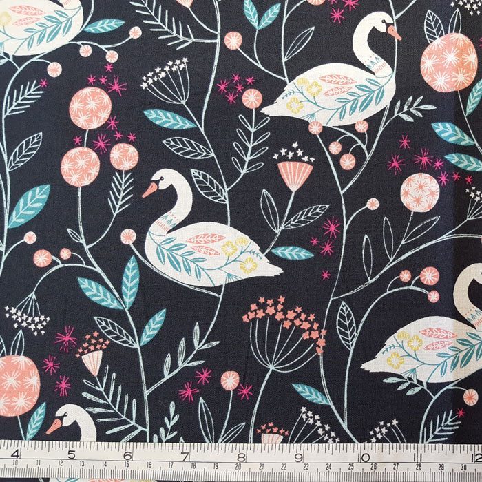 Dashwood Studio Rivelin Valley 1591 Swan on Black F6690 - The Fabric Bee
