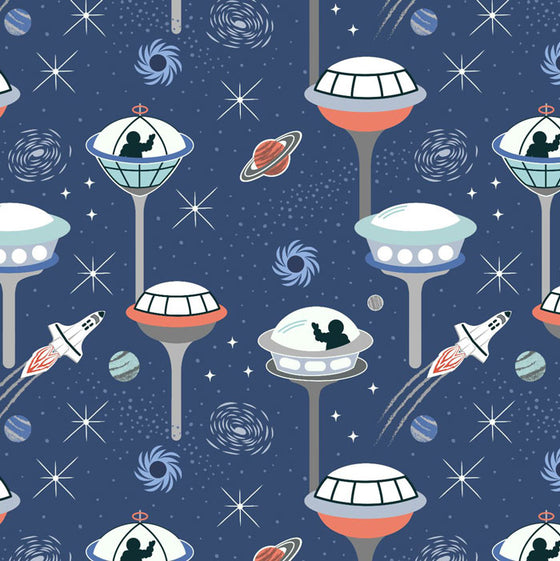 Lewis and Irene Light Years Space City Dark Blue A418.2 F6718 - The Fabric Bee