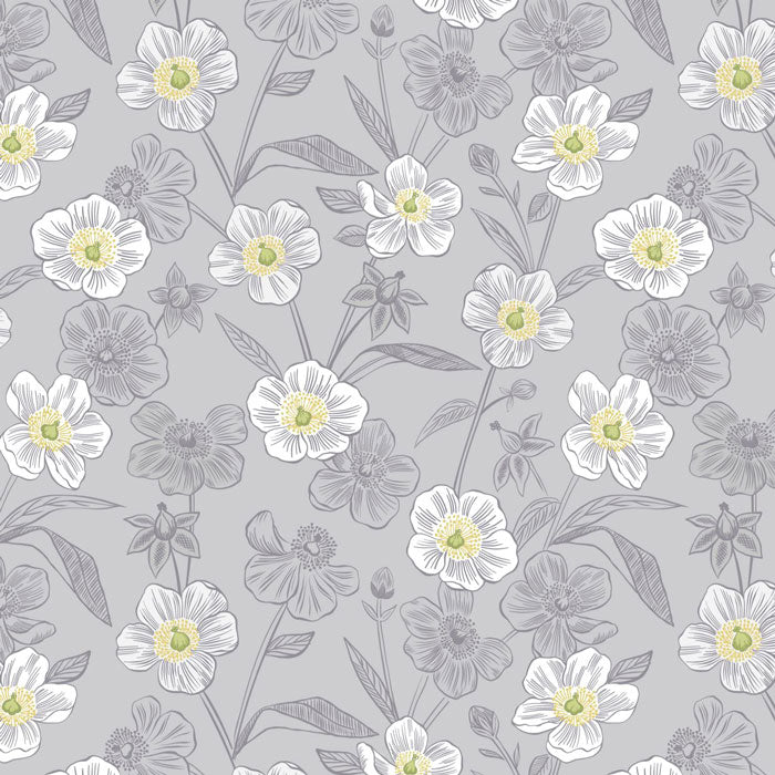 Lewis and Irene Botanic Garden A455.2 Rambling Floral on lightest Grey F6727