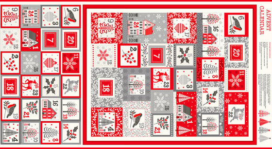 Makower UK Scandi 2223/1 Advent Calendar Red/Grey F6771