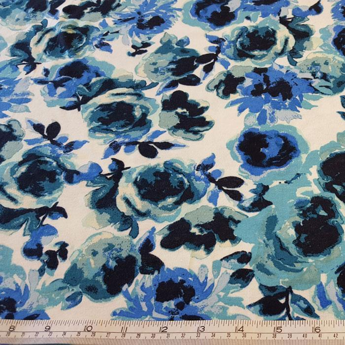 Jersey Fabric Florence Blue/Aqua Floral - The Fabric Bee