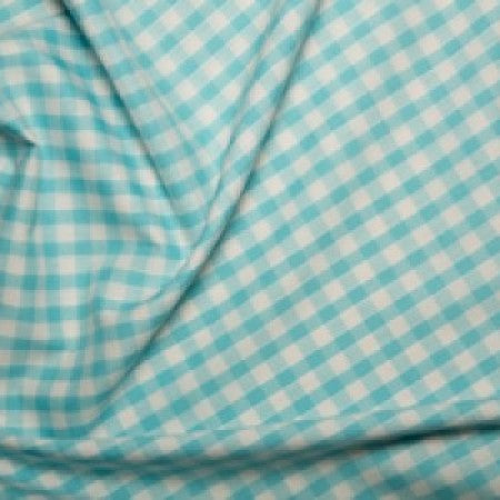 Polyester/cotton Woven Gingham 1/4 Inch Turquoise - The Fabric Bee
