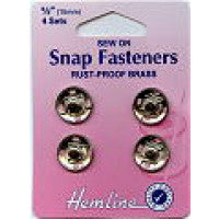 Snap Fasteners Sew On Nickle Size 15mm H420.15 - The Fabric Bee