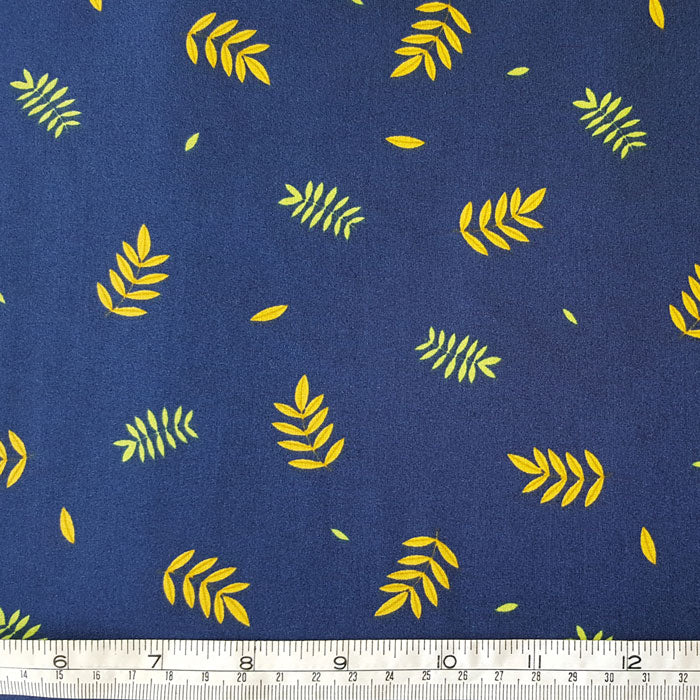 Medium Weight Cotton Fabric - Mustard/Green Leaf on Navy - The Fabric Bee