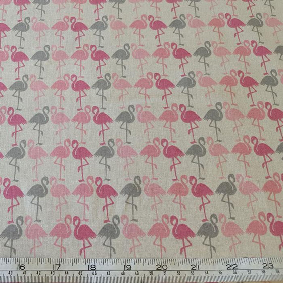 Medium Weight Cotton Fabric - Pink/Grey Flamingo Print - The Fabric Bee