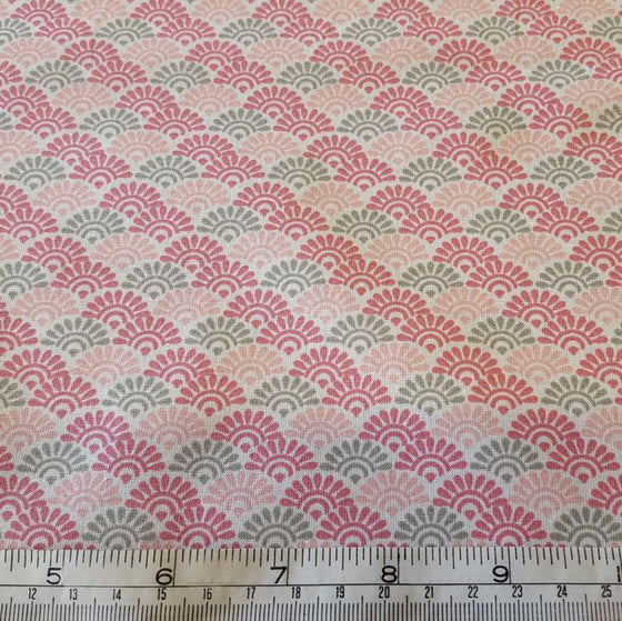 Medium Weight Cotton Fabric - Pink/Grey Sunrise Print