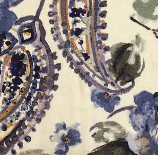 Linen/ Rayon Blend Fabric Purple Paisley Lyon 0015 - The Fabric Bee