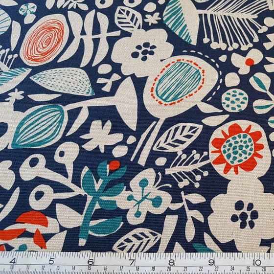 Cotton Canvas Floral on Navy Background - The Fabric Bee