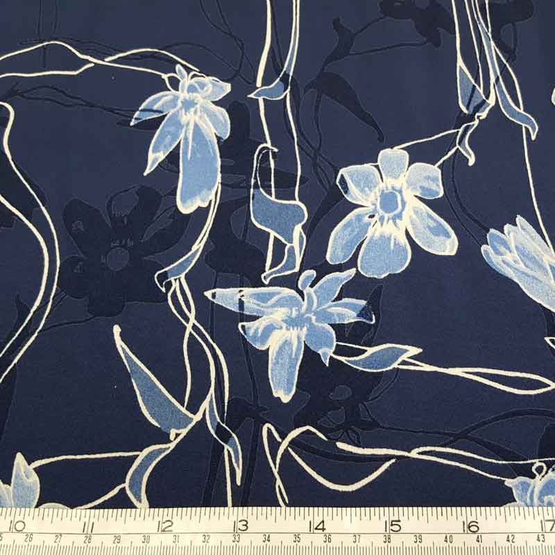 Polyester Floral Navy PH45 - The Fabric Bee
