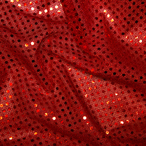 Sequin Knit Fabric Red C1778 - The Fabric Bee