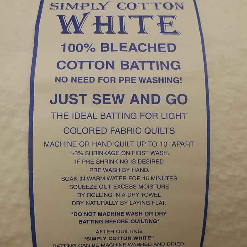 "Simply Cotton White Wadding 90""/230cm Wide - The Fabric Bee"