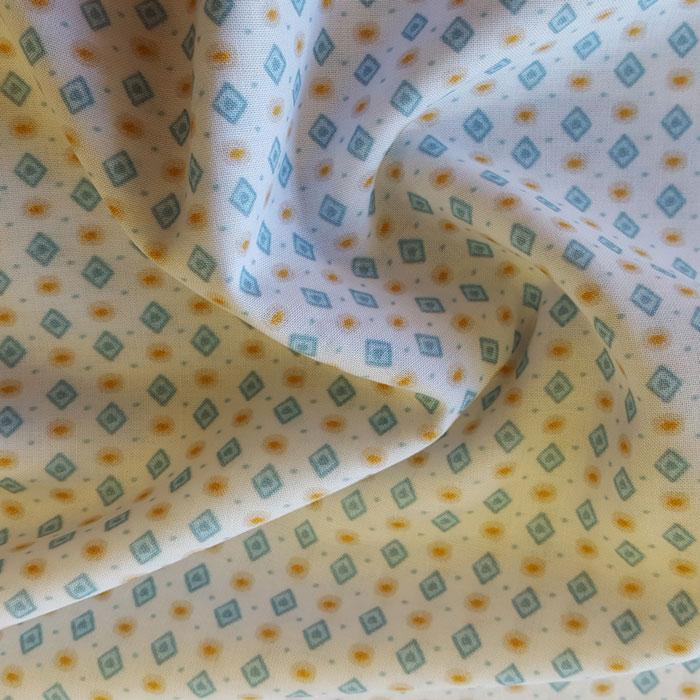 Cotton Lawn White with Blue Diamonds - The Fabric Bee