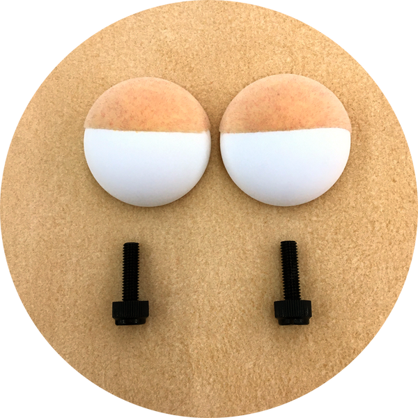Peach Flocked Domed Puppet Eyes 45mm