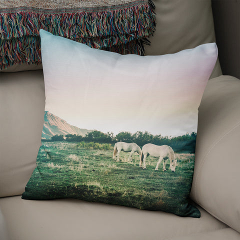 Horses in Snowy Colorado Throw Pillow Cover- 5 Sizes