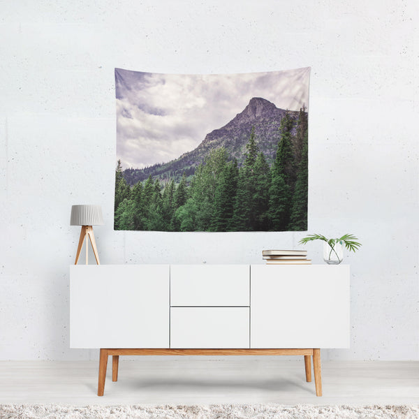 Epic Mountain Peak, Glacier Montana Wall Tapestry - 4 Sizes