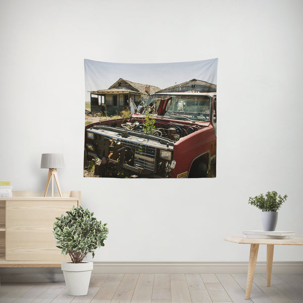 Ghost Town Truck, Abandoned Scenery Rustic Wall Tapestry - 4 Sizes
