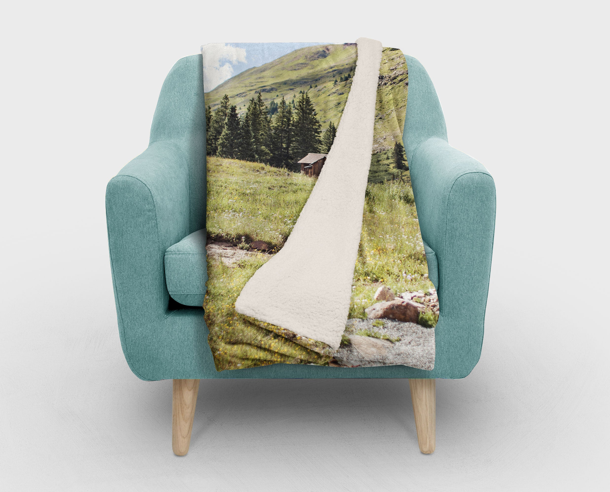 Colorado Rustic Cabin Sherpa Fleece Blanket - 2 Sizes