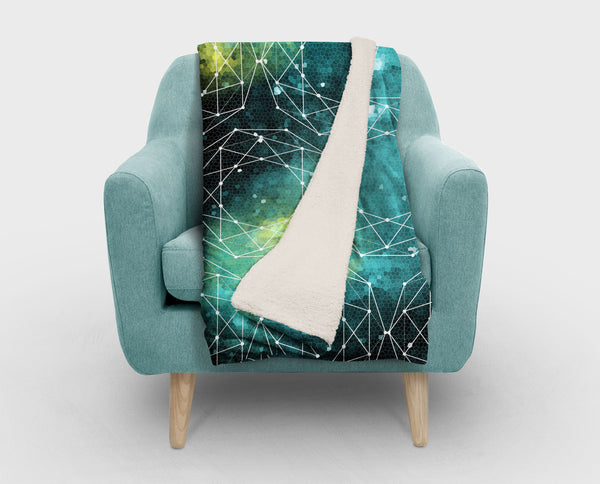 Outer Space Geometric Blue Sherpa Fleece Blanket - 2 Sizes