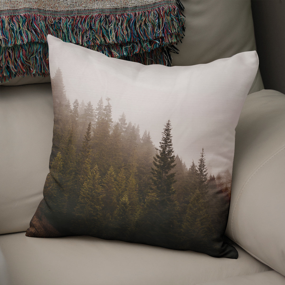 Suspended - Foggy Forest Throw Pillow - 5 Sizes