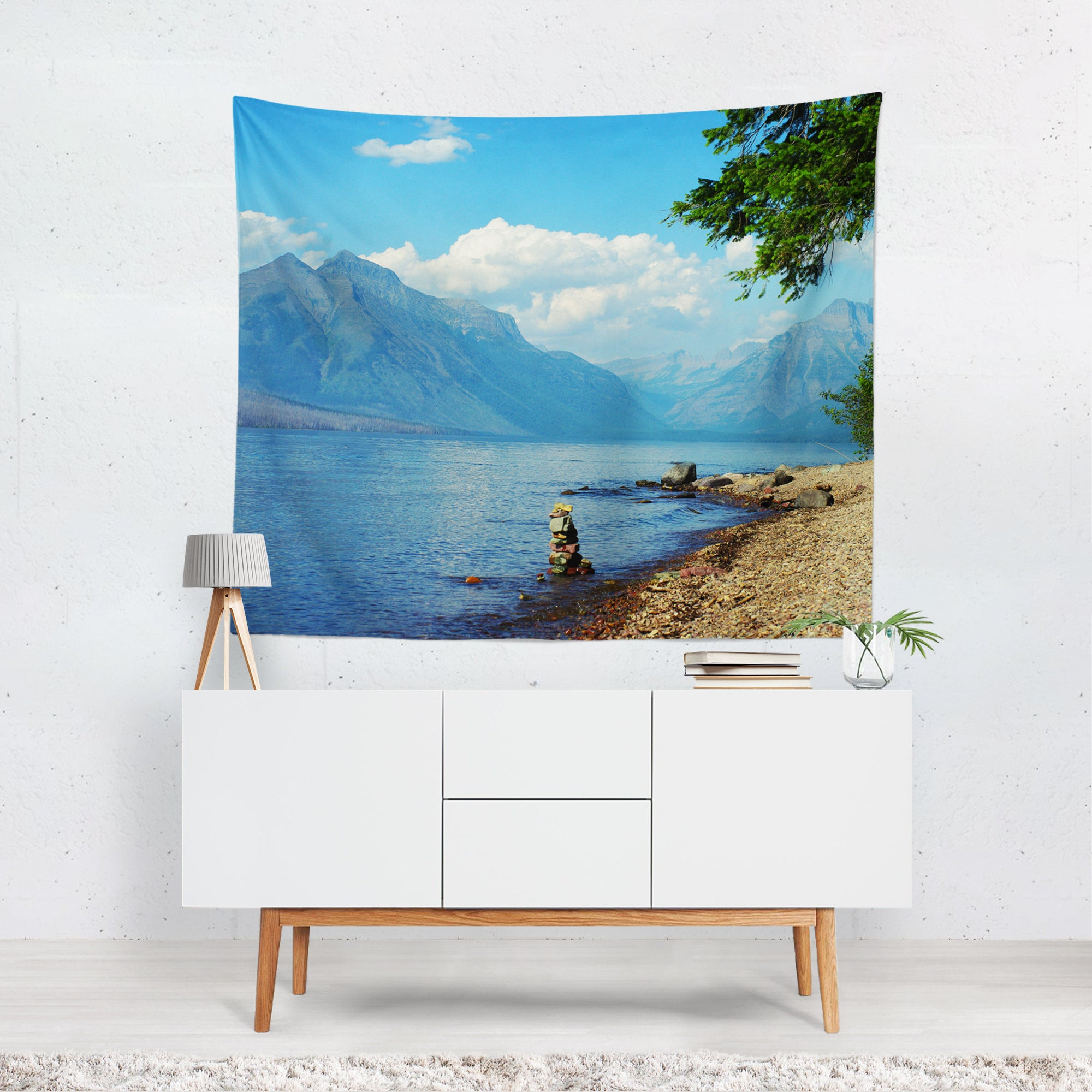 Rocky Mountain Lake Microfiber Wall Tapestry