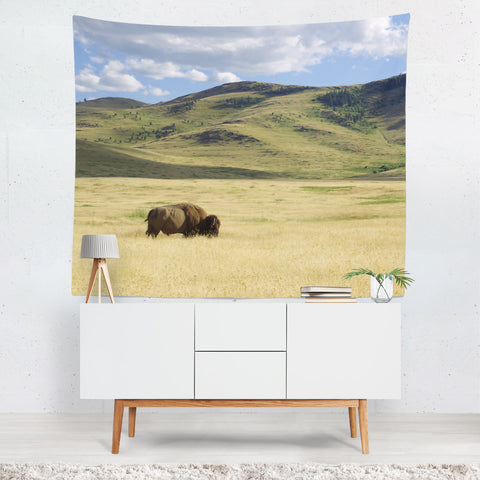 Bison Battle Western Decor Bison Wall Tapestry - 4 Sizes