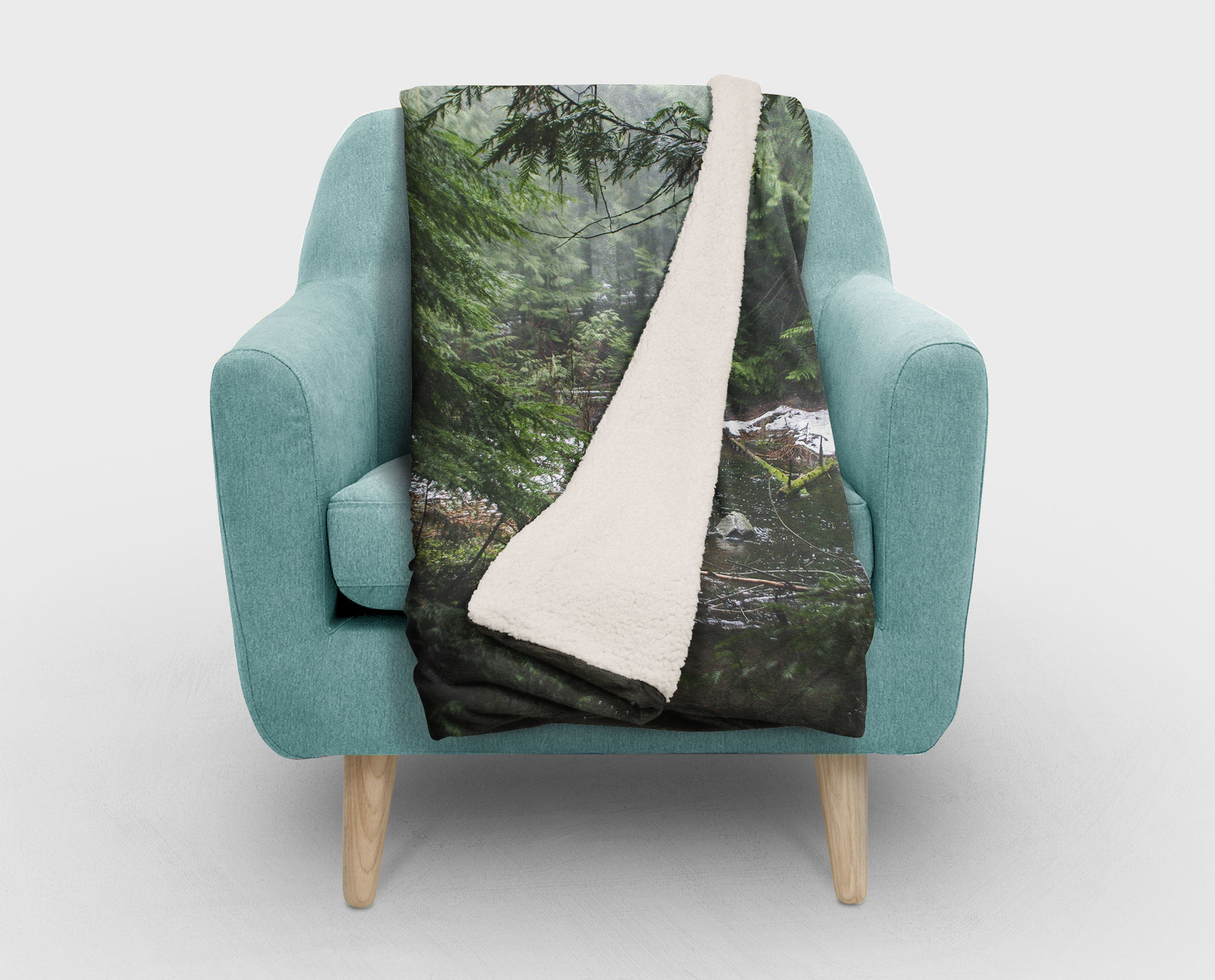Pacific Northwest Cedar Forest Sherpa Fleece Blanket - 2 Sizes