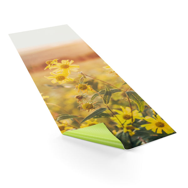 Yellow Sunflowers Yoga Mat, Flowers Yoga Mat, Sunset Workout Mat, Hippie Exercise Mat, Relaxing Yoga Mat Design