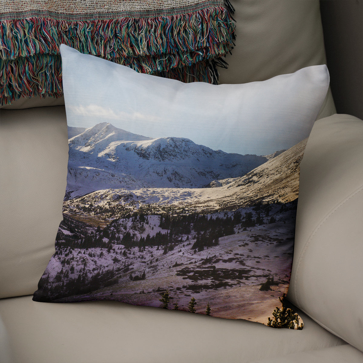 Shadow of the Mountain Decorative Throw Pillow Cover- 5 Sizes