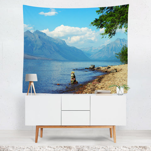 Rocky Mountain Lake Wall Tapestry - 4 Sizes