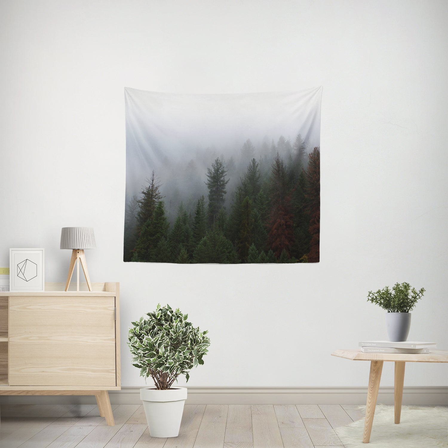 Foggy Forest Nature Microfiber Wall Tapestry
