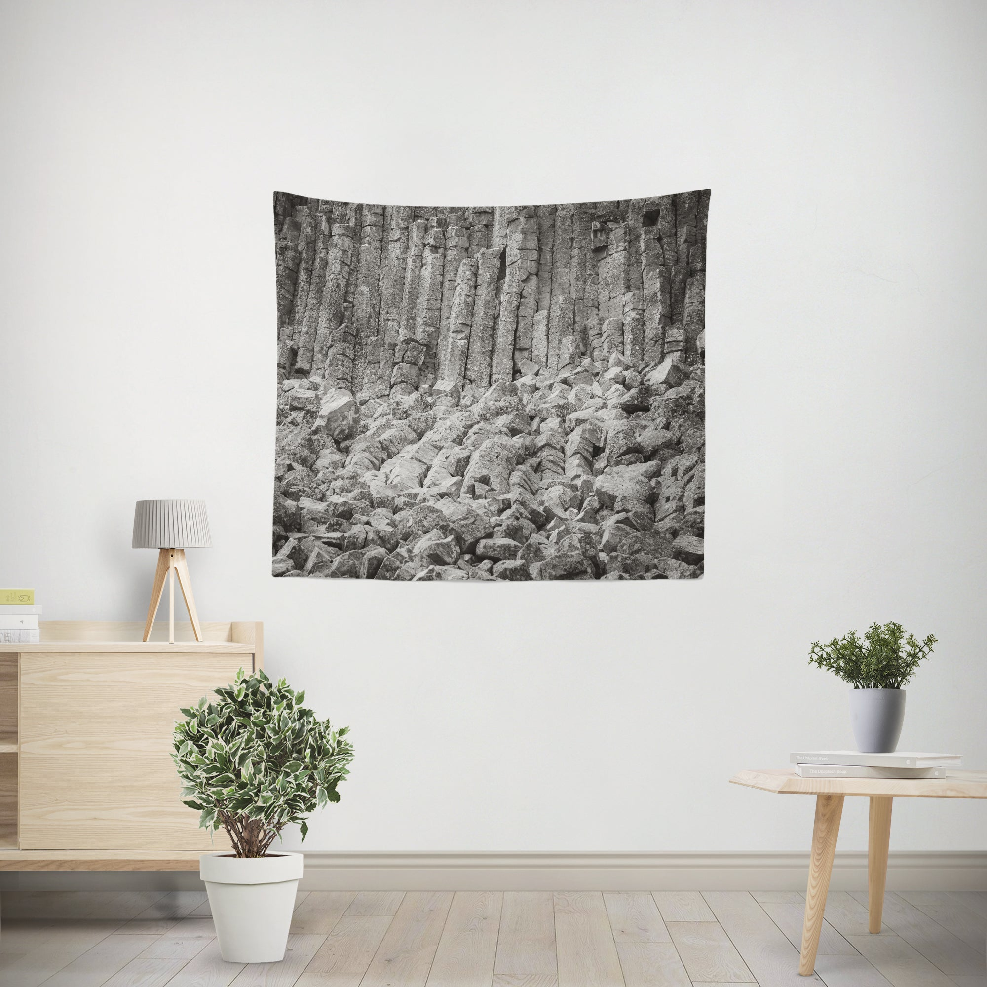 Basalt Columns Black and White Microfiber Wall Tapestry