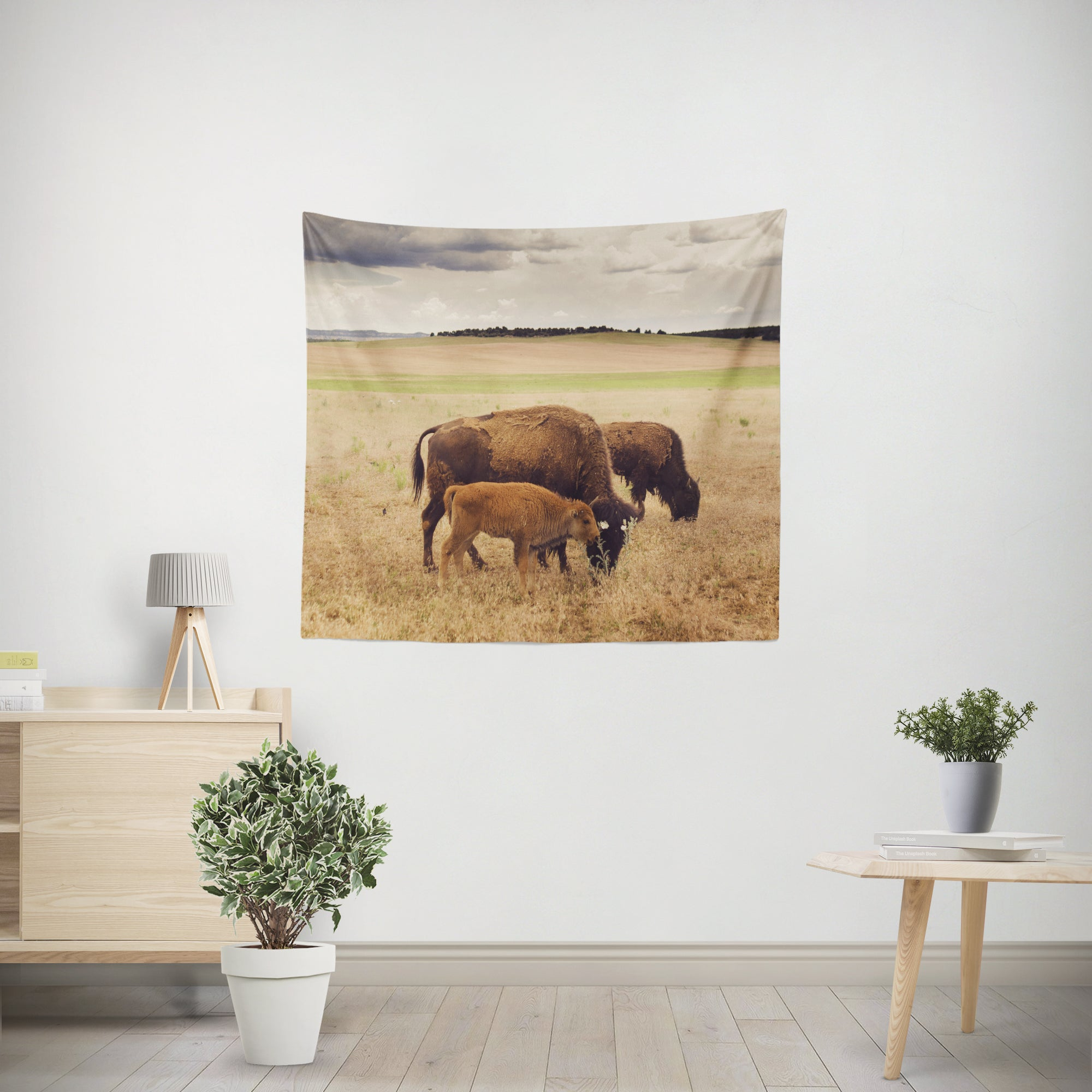 Baby Bison and Family Wildlife Microfiber Wall Tapestry