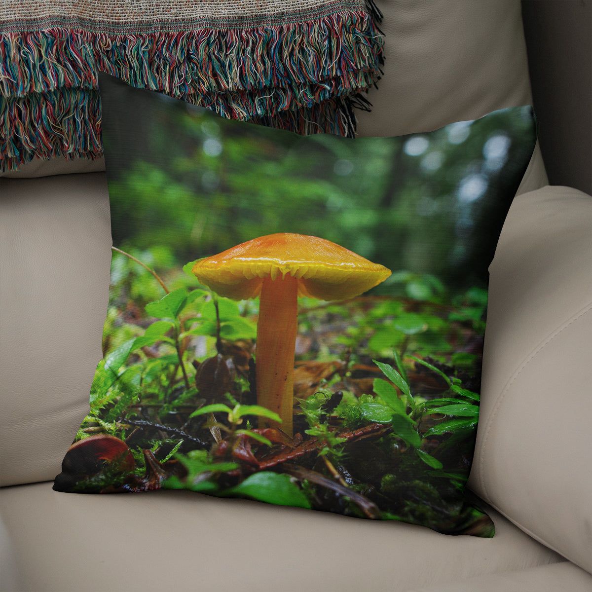 Fairy Mushroom Forest Decorative Throw Pillow Cover- 5 Sizes