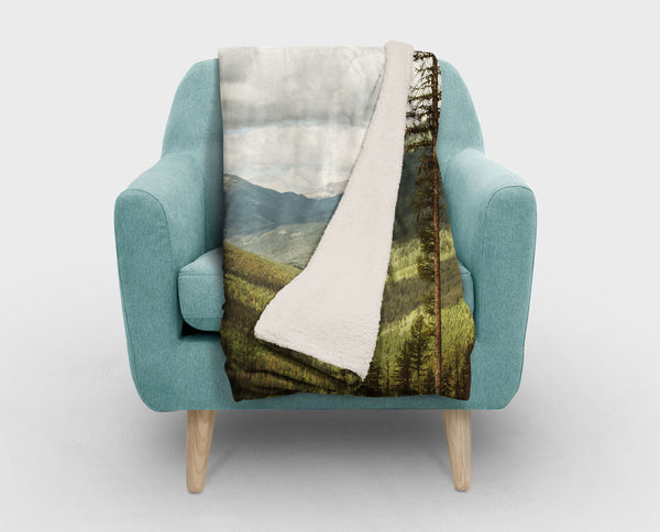 Canada Rocky Mountains Sherpa Fleece Blanket - 2 Sizes