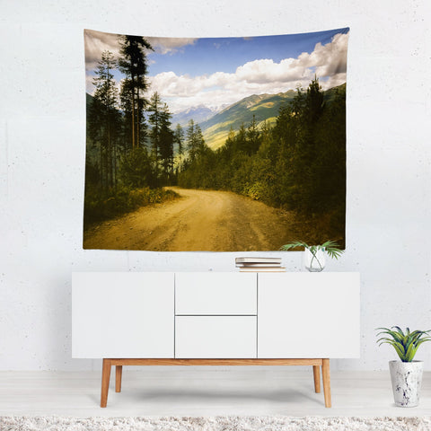 Adventure Road - Canada Mountains Wall Tapestry Lost In Nature