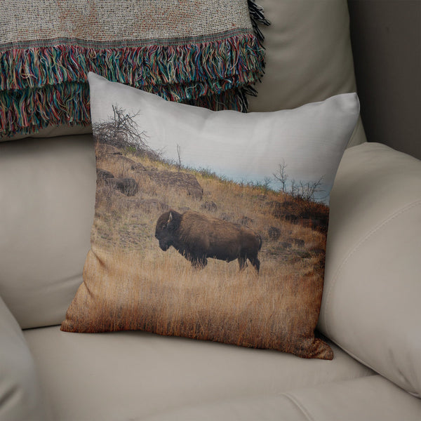 American Bison Throw Pillow Lost In Nature