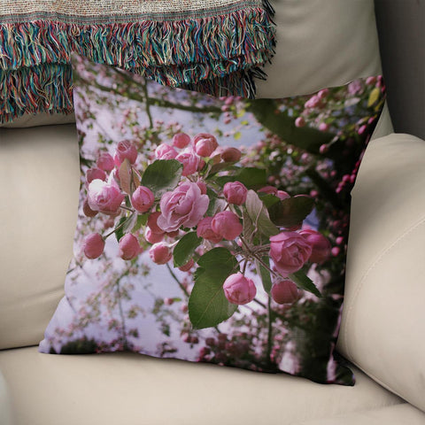 Apple Blossoms Pink Throw Pillow Cover Lost in Nature