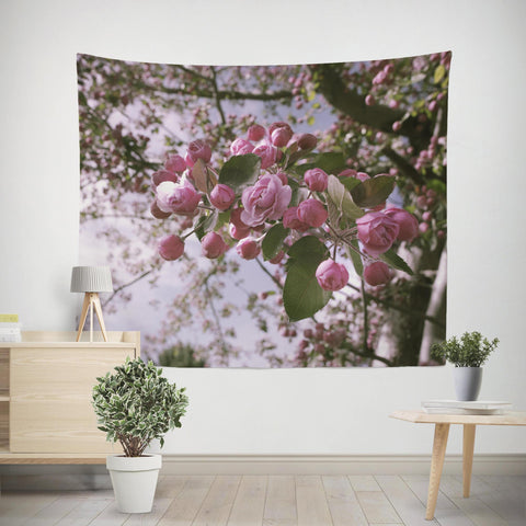 Apple Blossoms Pink Wall Tapestry Lost in Nature