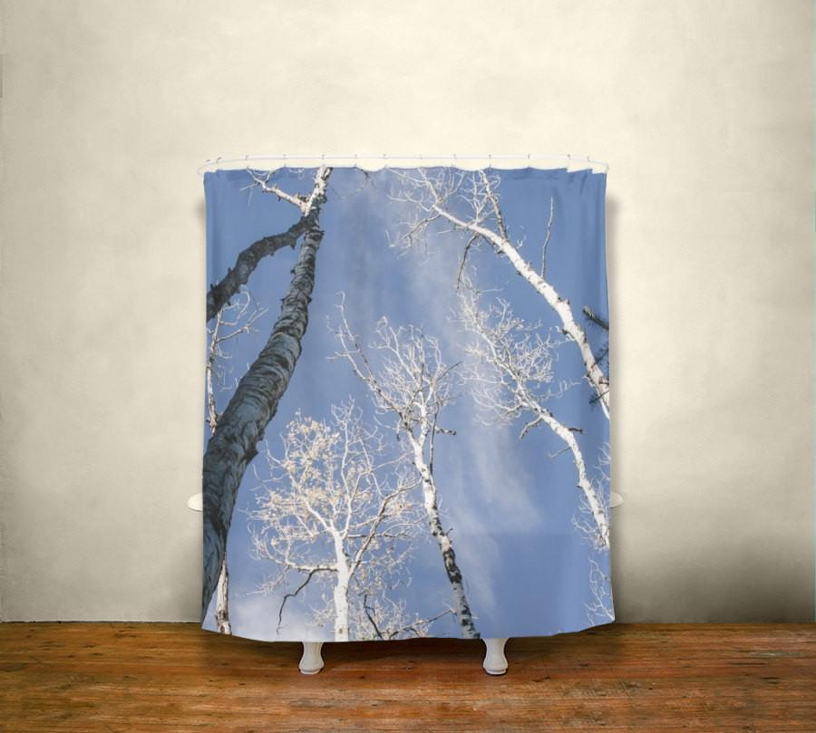 Aspen Trees Shower Curtain, Nature Bathroom Decor Lost In Nature