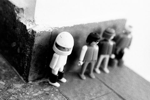 Retro Lego Men Heroes, Black and White Film