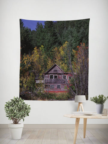 Autumn Colors Rustic Wall Tapestry Lost in Nature