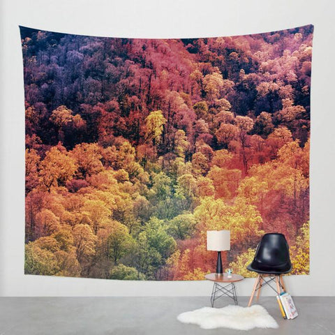 Autumn Leaves Wall Tapestry, Smoky Mountain Decor Lost In Nature