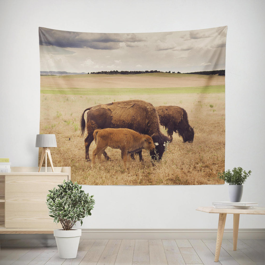 Baby Bison Utah Wall Tapestry Lost in Nature