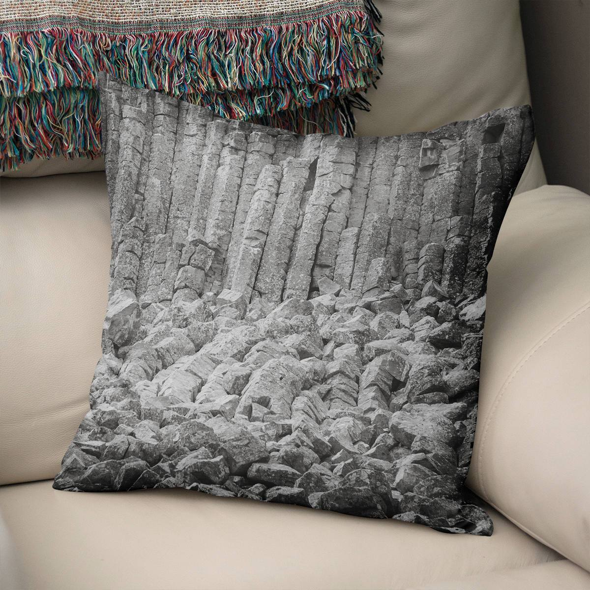 Basalt Columns Black and White Throw Pillow Cover Lost in Nature