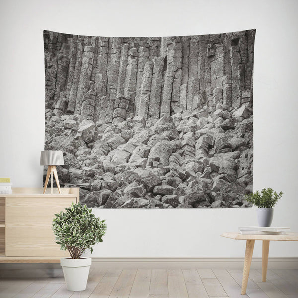 Basalt Columns Black and White Wall Tapestry Lost in Nature