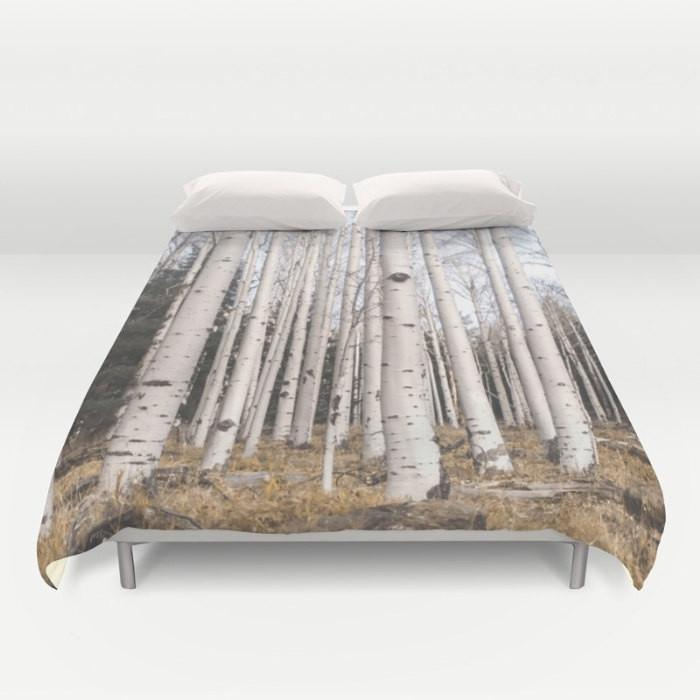 Birch Trees Comforter or Duvet Cover, Nature Bedding Lost In Nature